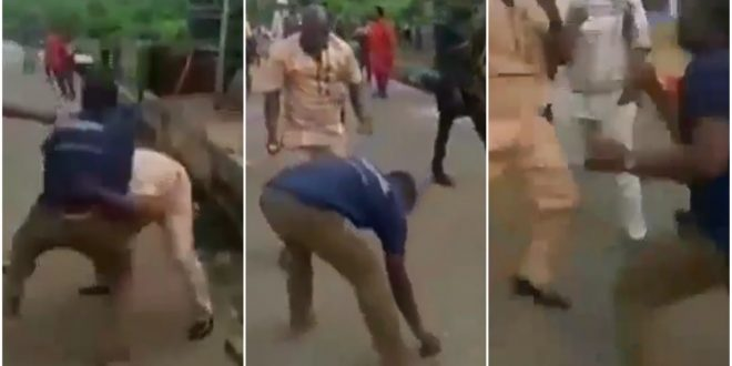Photo of Two Grown Men Brutally Fight Over A Slay Queen – Watch Video
